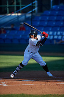 Great Falls Voyagers Harvin Mendoza (17) at bat during a Pioneer League game against the Missoula Osprey at Centene Stadium at Legion Park on August 19, 2019 in Great Falls, Montana. Missoula defeated Great Falls 4-1 in the first game of a doubleheader. Games were moved from Missoula after Ogren Park at Allegiance Field, the Osprey's home field, was ruled unplayable. (Zachary Lucy/Four Seam Images)