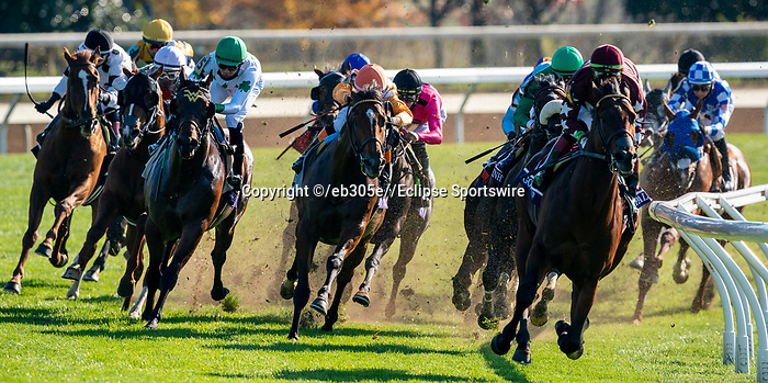November 6, 2020: Golden Pal, ridden by Irad Ortiz, Jr., wins the Juvenile Turf Sprint on Breeders' Cup Championship Friday at Keeneland on November 6, 2020: in Lexington, Kentucky. Dan Heary/Eclipse Sportswire/CSM