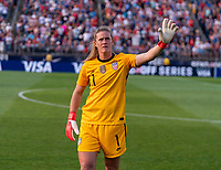 EAST HARTFORD, CT - JULY 5: Alyssa Naeher #1 of the USWNT waves to the crowd during a game between Mexico and USWNT at Rentschler Field on July 5, 2021 in East Hartford, Connecticut.