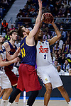 Real Madrid's Anthony Randolph and FC Barcelona Lassa's Victor Claver during Liga Endesa match between Real Madrid and FC Barcelona Lassa at Wizink Center in Madrid, Spain. March 12, 2017. (ALTERPHOTOS/BorjaB.Hojas)