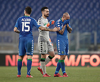 Calcio, Serie A: AS Roma - Sassuolo, Roma, stadio Olimpico, 30 dicembre 2017.<br /> Sassuolo's Francesco Acerbi (l) and Andrea Consigli (c) greet Sassuolo's Paolo Cannavaro (r) at the end of the Italian Serie A football match between AS Roma and Sassuolo at Rome's Olympic stadium, 30 December 2017. <br /> Sassuolo and Roma drawns 1-1.<br /> UPDATE IMAGES PRESS/Isabella Bonotto