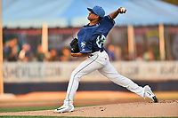 Asheville Tourists starting pitcher Erick Julio (29) delivers a pitch during a game against the Columbia Fireflies at McCormick Field on April 12, 2018 in Asheville, North Carolina. The Fireflies defeated the Tourists 7-5. (Tony Farlow/Four Seam Images)
