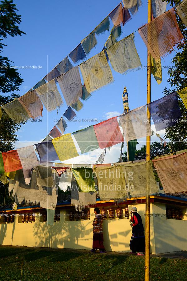 NEPAL Pokhara, tibetan refugee camp Prithvi, stupa with prayer flages / NEPAL Pokhara, tibetisches Fluechtlingslager Tashi Ling, Stupa mit Gebetsfahnen