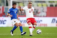 11th October 2020, The Stadion Energa Gdansk, Gdansk, Poland; UEFA Nations League football, Poland versus Italy; Alessandro Florenzi held off by Kamil Jozwiak