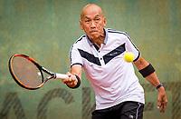 Hilversum, The Netherlands,  August 20, 2021,  Tulip Tennis Center, NKS, National Senior Tennis Championships, Men's 75+,  Tjoen Lew Lim (NED)<br /> Photo: Tennisimages/Henk Koster