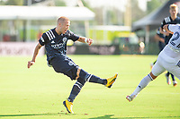 LAKE BUENA VISTA, FL - JULY 9: Anton Tinnerholm #3 of NYFC shoots the ball during a game between New York City FC and Philadelphia Union at Wide World of Sports on July 9, 2020 in Lake Buena Vista, Florida.