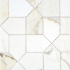 Maxfield, a stone waterjet mosaic, show in polished Calacatta Gold, is part of the Semplice® collection for New Ravenna.
