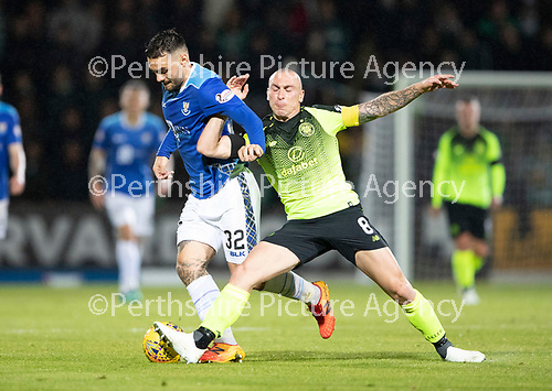 St Johnstone v Celtic…26.09.18…   McDiarmid Park     BetFred Cup Quarter Final<br />Tony Watt is fouled by Scott Brown<br />Picture by Graeme Hart. <br />Copyright Perthshire Picture Agency<br />Tel: 01738 623350  Mobile: 07990 594431