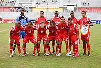 Panama lines up during the semifinals of the CONCACAF Men's Under 17 Championship at Catherine Hall Stadium in Montego Bay, Jamaica. Canada defeated Panama, 1-0.