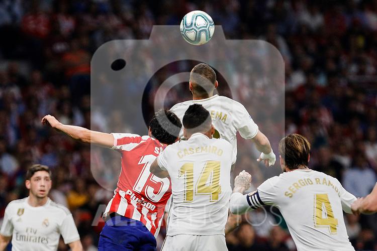 Stefan Savic of Atletico de Madrid and Carlos Henrique Casimiro of Real Madrid during La Liga match between Atletico de Madrid and Real Madrid at Wanda Metropolitano Stadium{ in Madrid, Spain. {iptcmonthname} 28, 2019. (ALTERPHOTOS/A. Perez Meca)