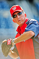 9 July 2011: Washington Nationals Manager Davey Johnson tosses some ball during batting practice prior to a game against the Colorado Rockies at Nationals Park in Washington, District of Columbia. Johnson replaced Jim Riggleman as Manager on June 23. The Nationals were edged out 2-1 by the Rockies, dropping the second game of their 3-game series. Mandatory Credit: Ed Wolfstein Photo