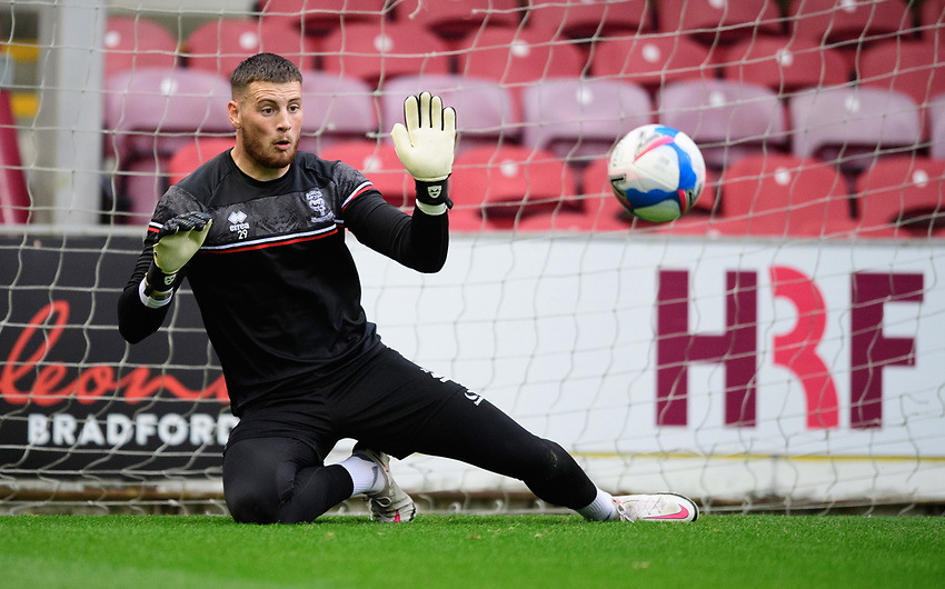 Lincoln City's Ethan Ross during the pre-match warm-up<br /> <br /> Photographer Chris Vaughan/CameraSport<br /> <br /> Carabao Cup Second Round Northern Section - Bradford City v Lincoln City - Tuesday 15th September 2020 - Valley Parade - Bradford<br />  <br /> World Copyright © 2020 CameraSport. All rights reserved. 43 Linden Ave. Countesthorpe. Leicester. England. LE8 5PG - Tel: +44 (0) 116 277 4147 - admin@camerasport.com - www.camerasport.com