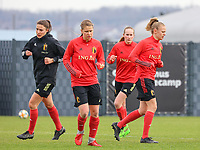 Silke Vanwynsberghe, Aster Janssens, Feli Delacauw and Sarah Wijnants pictured during the training session of the Belgian Women's National Team ahead of a friendly female soccer game between the national teams of Germany and Belgium , called the Red Flames in a pre - bid tournament called Three Nations One Goal with the national teams from Belgium , The Netherlands and Germany towards a bid for the hosting of the 2027 FIFA Women's World Cup ,on 19th of February 2021 at Proximus Basecamp. PHOTO: SEVIL OKTEM | SPORTPIX.BE