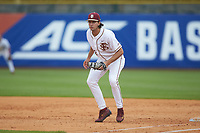 Florida State Seminoles first baseman Drew Mendoza (22) on defense against the Duke Blue Devils in the first semifinal of the 2017 ACC Baseball Championship at Louisville Slugger Field on May 27, 2017 in Louisville, Kentucky. The Seminoles defeated the Blue Devils 5-1. (Brian Westerholt/Four Seam Images)