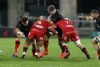 Sunday 22nd November 2020 | Ulster vs Scarlets<br /> <br /> Matty Rea is tackled by Javan Sebastian and Jac Morgan  during the Guinness PRO14 Round 7 clash between Ulster Rugby and Scarlets at Kingspan Stadium, Ravenhill Park, Belfast, Northern Ireland. Photo by John Dickson / Dicksondigital
