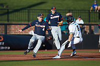 Illinois Fighting Illini third baseman CamMcDonald (4) prepares to tag Nick Lucky (6) of the Coastal Carolina Chanticleers at Springs Brooks Stadium on February 22, 2020 in Conway, South Carolina. The Fighting Illini defeated the Chanticleers 5-2. (Brian Westerholt/Four Seam Images)