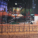 Backdrop featuring European Old world cafe plaza scene with shops, park, night sky, buildings and market