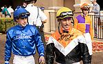 November 17, 2018: Jockeys Joseph Talamo, Gary Stevens and Flavien Prat before race 1 on November 17, 2018, at Del Mar Thoroughbred Club in Del Mar, CA. ( Photo by Casey Phillips/Eclipse Sportswire/CSM)