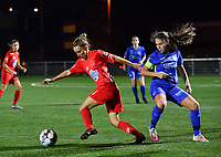 Sien Vandersanden of Racing Genk pictured in a duel with Woluwe's Selina Gijsbrechts (11) during a female soccer game between  Racing Genk Ladies and White Star Woluwe on the seventh matchday of the 2020 - 2021 season of Belgian Scooore Womens Super League , friday 13 th of November 2020  in Genk , Belgium . PHOTO SPORTPIX.BE | SPP | DAVID CATRY
