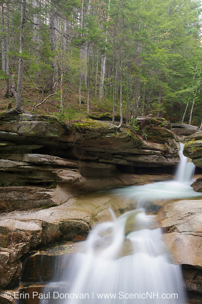 Sabbaday Falls in Waterville Valley, New Hampshire during the spring months. These falls are located on Sabbaday Brook off of the Kancamagus Highway in the White Mountains.