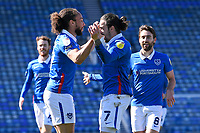 Ryan Williams of Portsmouth (7) celebrates scoring the first goal with Marcus Harness of Portsmouth left during Portsmouth vs Rochdale, Sky Bet EFL League 1 Football at Fratton Park on 2nd April 2021