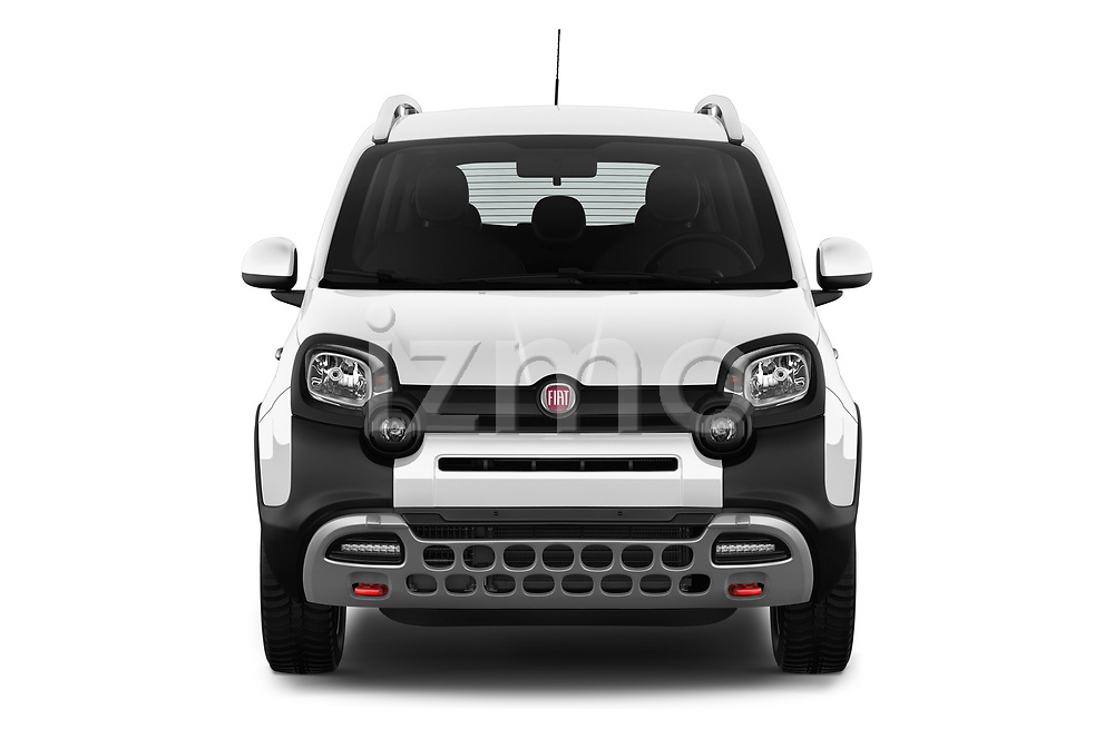 Car photography straight front view of a 2017 Fiat Panda Cross 5 Door SUV Front View