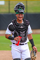 Clinton LumberKings catcher Rainis Silva (7) prior to a Midwest League game against the Lansing Lugnuts on July 15, 2018 at Ashford University Field in Clinton, Iowa. Clinton defeated Lansing 6-2. (Brad Krause/Four Seam Images)
