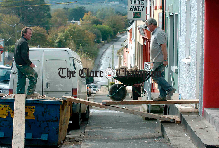 Maurice Mc Inerney and Mick Finnan..working hard in Scariff recently. Photograph by John Kelly.