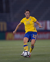 Sweden midfielder Therese Sjogran (15) passes the ball. The US Women's national team beat Sweden, 3-0, at Rentschler Field on July 17, 2010.