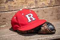 Rutgers Scarlet Knights hat on April 27, 2019 in the NCAA baseball game at Ray Fisher Stadium in Ann Arbor, Michigan. Michigan defeated Rutgers 10-1. (Andrew Woolley/Four Seam Images)