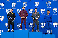 STANFORD, CA - March 7, 2020: Brandon Kaylor of Oregon State University, Brandon Courtney of Arizona State University, Jackson Disario of Stanford, and Alex Hernandez-Figueroa Cal State Bakersfield receive awards during the 2020 Pac-12 Wrestling Championships at Maples Pavilion.
