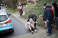 Fumi Beppu (JAP/Trek-Segafredo) crashed coming down after the Haaghoek<br /> <br /> 71st Dwars door Vlaanderen (1.HC)