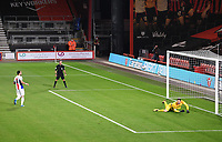 15th September 2020; Vitality Stadium, Bournemouth, Dorset, England; English Football League Cup, Carabao Cup Football, Bournemouth Athletic versus Crystal Palace; Asmir Begovic of Bournemouth saves the penalty from Luka Milivojevic of Crystal Palace to win the match