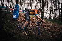 World Tour roadie Heinrich Haussler (AUS/Bahrein-McLaren) having some cyclocross mud fun<br /> <br /> Men's Race at the X2O Herentals Cross 2020 (BEL)<br /> <br /> ©kramon