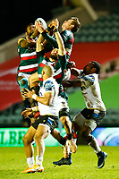 3rd January 2021; Welford Road Stadium, Leicester, Midlands, England; Premiership Rugby, Leicester Tigers versus Bath Rugby; Leicester Tigers and Bath Rugby players compete for a restart ball