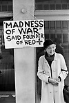 Anti Falkland war demo London May 1983. Henry Dunant founder of the Red Cross  said The Madness of War May 1983 1980s