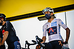 White Jersey Egan Bernal (COL) Team Ineos Grenadiers at sign on before the start of Stage 8 of Tour de France 2020, running 141km from Cazeres-sur-Garonne to Loudenvielle, France. 5th September 2020.<br /> Picture: ASO/Pauline Ballet | Cyclefile<br /> All photos usage must carry mandatory copyright credit (© Cyclefile | ASO/Pauline Ballet)