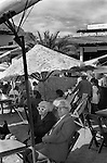 Mazatlan Mexico1970s. An elderly couple of tourists enjoying winter sunshine in a beach side cafe Mexican state of Sinaloa 1973.