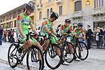 Bardiani-CSF team line up for the start of the 99th edition of Milan-Turin 2018, running 200km from Magenta Milan to Superga Basilica Turin, Italy. 10th October 2018.<br /> Picture: Eoin Clarke | Cyclefile<br /> <br /> <br /> All photos usage must carry mandatory copyright credit (© Cyclefile | Eoin Clarke)