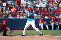 Spokane Indians first baseman Curtis Terry (28) at bat in front of catcher Yorman Rodriguez (13) during a Northwest League game against the Vancouver Canadians at Avista Stadium on September 2, 2018 in Spokane, Washington. The Spokane Indians defeated the Vancouver Canadians by a score of 3-1. (Zachary Lucy/Four Seam Images)