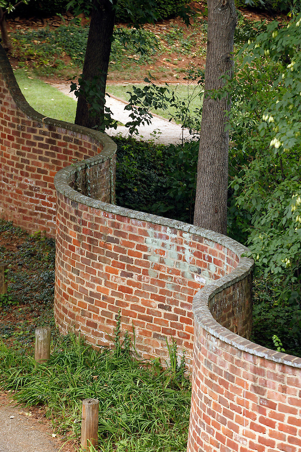 The historical serpentine walls behind the pavilions at the University of Virginia. Photo/Andrew Shurtleff