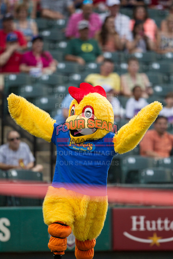 """Pluckers """"Chicken Race"""" during the Pacific Coast League baseball game between the Sacramento River Cats and the Round Rock Express on June 19, 2014 at the Dell Diamond in Round Rock, Texas. The Express defeated the River Cats 7-1. (Andrew Woolley/Four Seam Images)"""