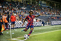 KANSAS CITY, KS - JULY 15: Gianluca Busio #6 of the United States takes a cornerkick during a game between Martinique and USMNT at Children's Mercy Park on July 15, 2021 in Kansas City, Kansas.