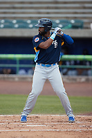 Jonathan Sierra (56) of the Myrtle Beach Pelicans at bat against the Lynchburg Hillcats at Bank of the James Stadium on May 23, 2021 in Lynchburg, Virginia. (Brian Westerholt/Four Seam Images)