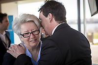 PQ MNAs Agnes Maltais and Pierre-Karl Peladeau chat during the presentation of parti Quebecois candidates for the upcoming byelection Tuesday May 5, 2015.<br /> <br /> PHOTO :  Francis Vachon - Agence Quebec Presse