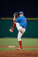 Clearwater Threshers relief pitcher Grant Dyer (16) delivers a pitch during a game against the St. Lucie Mets on August 11, 2018 at Spectrum Field in Clearwater, Florida.  St. Lucie defeated Clearwater 11-0.  (Mike Janes/Four Seam Images)