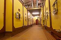 The vat room in the winery with concrete fermentation tanks Chateau de Pressac St Etienne de Lisse Saint Emilion Bordeaux Gironde Aquitaine France