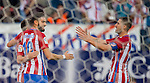 Yannick Ferreira Carrasco of Club Atletico de Madrid celebrates with teammates Kevin Gameiro and Gabi of Club Atletico de Madrid during their La Liga match between Club Atletico de Madrid and Malaga CF at the Estadio Vicente Calderón on 29 October 2016 in Madrid, Spain. Photo by Diego Gonzalez Souto / Power Sport Images