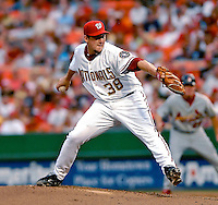 4 August 2007: Washington Nationals pitcher Joel Hanrahan on the mound against the St. Louis Cardinals at RFK Stadium in Washington, DC. Hanrahan earned the first Major League win of his career as the Nationals defeated the Cardinals 12-1 in the second game of their 3-game series...Mandatory Photo Credit: Ed Wolfstein Photo