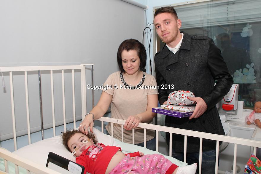 Sam Wedgbury of Stevenage<br /> Stevenage FC players visit Lister Hospital Children's ward.  <br />  - Lister Hospital, Stevenage - 18th December, 2013<br />  © Kevin Coleman 2013